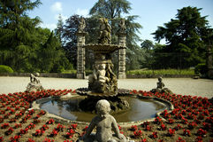 Renaissance garden. Beautiful fountain in renaissance garden of a Italian villa Royalty Free Stock Image
