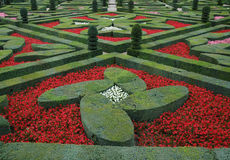 Renaissance garden. Box hedges, red pink and white flowers in an ornamental garden Royalty Free Stock Photos