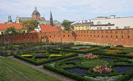 Renaissance garden at the Wawel Castle in Krakow Stock Photo