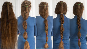 Renaissance hairstyles for long hair. Collection of traditional plait styles modelled by girl with very long golden hair Royalty Free Stock Photos