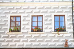 Renaissance house with clown in Telc Royalty Free Stock Photos