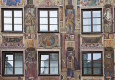 Renaissance house facade decorated in forced perspective with fr. Detail of beautiful Renaissance facade in Landshut Germany,richly decorated by frescoes of Royalty Free Stock Photography