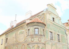 Renaissance house with graffiti in Telc Stock Image