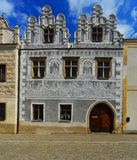 Renaissance house with sgraffito in Slavonice, Czech republic Stock Images