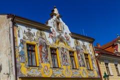 Renaissance House. U Tri Kralu with colorful paintings of saints -Kutna Hora, Czech Republic Stock Photography