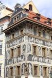Renaissance `House under a minute` decorated with technique sgraffito, Old Town Square, Prague, Czech Republic Stock Photos