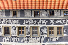 Renaissance `House under a minute` decorated with technique sgraffito ,Old Town Square, Prague, Czech Republic. Renaissance `House under a minute` decorated with stock photography