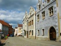 Renaissance houses in Slavonice, Czech republic Stock Images