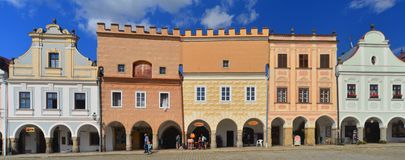 Renaissance houses in Telc, Czech republic Royalty Free Stock Image