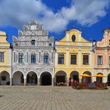 Renaissance houses in the town of Telc, Czech Republic Stock Images