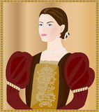 Renaissance lady. Vector portrait of a renaissance lady Stock Illustration