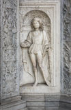 Renaissance Marble Sculpture of Saint Protas, Como, Italy. A marble niche with a Renaissance era sculpture of the Roman Catholic Saint Protas Stock Photos