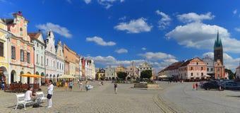Renaissance market square in Telc, Czech republic stock photos