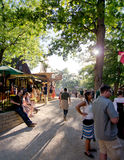 Renaissance Marketplace. Sunlight streaming down the road through the marketplace at the Bristol Renaissance Faire in Wisconsin Royalty Free Stock Photo