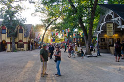 Renaissance Marketplace. Sunlight streaming down the road through the marketplace at the Bristol Renaissance Faire in Wisconsin Stock Photography
