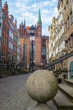 Mariacka Street in Gdansk. Renaissance and medieval Mariacka Street in the Old Town in Gdansk, northern Poland. Gothic Basilica of Blessed Virgin Mary in the Stock Image