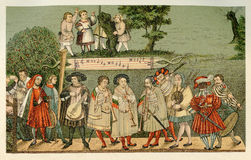 Renaissance minstrels playing in Augsburg Royalty Free Stock Images