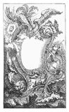 Renaissance mirror and ornamental frame. Mirror with ornamental frame with angels, trumpets, wild beast surmounted by spreading wings Stock Photo