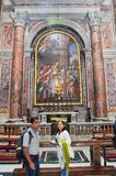 Renaissance paintings in the Saint Peter basilica, Vatican. VATICAN - MARCH 16, 2016: The paintings in the Saint Peter Basilica in Vatican were painted in the stock images