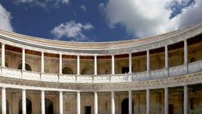 Renaissance palace of Carlos V, Alhambra, Granada, Spain stock footage