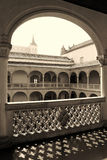 Renaissance Patio of Museum of Santa Cruz in Toledo, Spain. View from a Gallery of the Renaissance Patio of Museum of Santa Cruz in Toledo, Spain stock photo