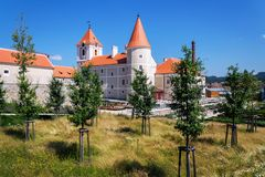 Renaissance Pisecne castle rebuilt from gothic fortress, Jindrichuv Hradec district, South Bohemian Region, Czech Republic. Sunny summer day royalty free stock photo