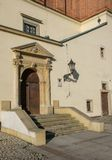 Renaissance portal of town hall of old town in Tarnow, Poland. Latin inscription over the door 'Let God protect thy entrance and exit&#x27 Stock Photography