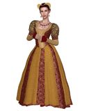Renaissance Princess. Princess or noblewoman in a richly decorated Renaissance or late Medieval dress and headdress with gold brocade, 3d digitally rendered Royalty Free Stock Photos