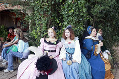 Renaissance Princesses. MISSION, TX – OCTOBER 2009: Women performers working at the Texas Renaissance Festival, known as the largest in the state and taken on Royalty Free Stock Photography