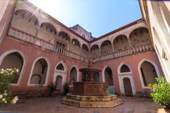 Renaissance Royal Palace in Visegrád, Hungary, inner courtyard with marble fountain royalty free stock images