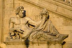 Renaissance sculpture of the man holding the Cornucopia Stock Image