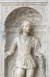 Renaissance Sculpture of a Saint, Como, Italy. Marble sculpture of a Saint on the Cathedral of Como Stock Images