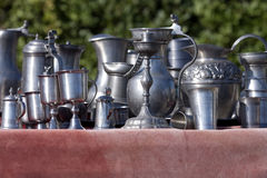 Renaissance silverware. Italy: Renaissance silverware: Flasks, cups, pots, ampoules made of metal, silver or pewter. Were also war spoils Stock Photography