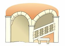 Renaissance staircase. Vector illustration of an old staircase, eps 10 file Vector Illustration