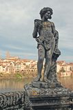 Renaissance statue with Albi town and Tarn River Royalty Free Stock Image
