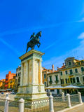 The Renaissance Statue of Bartolomeo Colleoni is one of the most beautiful equestrian statues in the world Stock Photo