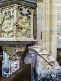 Renaissance stone pulpit at the Basilica of Our Lady, Basilique Notre-Dame in Avioth, France stock photos
