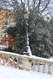 Renaissance street light under snow Stock Photo