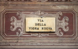 Renaissance street sign in Florence Royalty Free Stock Photos