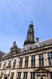Renaissance style architecture. The renaissance style facade dating back to 1600 of city hall (stadhuis) of the old university town of Leiden in the Netherlands royalty free stock photography