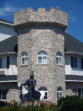 Renaissance Theme Hotel. Knight on Horse in front of Castle at Renaissance Theme Hotel Stock Image