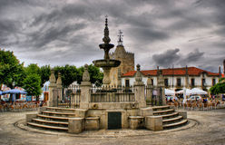 Renaissance water fountain in Caminha stock photography