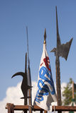 Renaissance Weapons halberds skyline with flag. Renaissance Weapons , Italy: halberds with flag Stock Photography