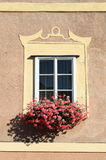 Renaissance window with flowers Royalty Free Stock Photo