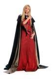 Renaissance Woman. Beautiful woman dressed in Renaissance dress with cloak cape Stock Photo