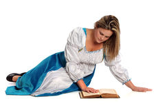 Renaissance Woman Reading Book royalty free stock images