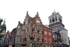 Renaissancegeveltoppen in historisch Delft, Holland Royalty-vrije Stock Foto's