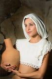 Renaissanceportret met wijnkruik Stock Foto
