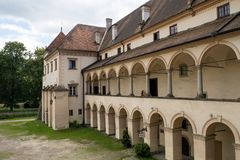 Renaissanceschloss in sucha beskidzka, ein Magnatswohnsitz von folgenden Inhabern von sucha Zust?nden stockfoto