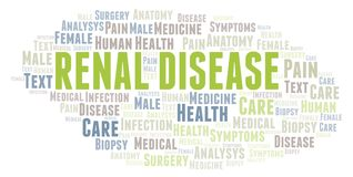 Renal Disease word cloud. Wordcloud made with text only stock illustration